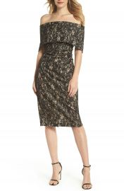 Vince Camuto Off the Shoulder Lace Sheath Dress   Nordstrom at Nordstrom