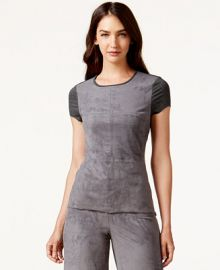 Vince Camuto Short-Sleeve Faux-Suede Top at Macys