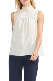 Vince Camuto Sleeveless Smocked Mock Neck Blouse  Regular  amp  Petite at Nordstrom