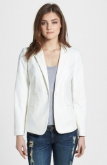 Vince Camuto Stretch Cotton Single-Button Blazer in white at Nordstrom