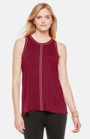 Vince Camuto Studded Sleeveless Knit Top in Red at Nordstrom