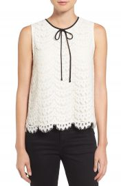Vince Camuto Tie Neck Lace Shell  Regular   Petite at Nordstrom