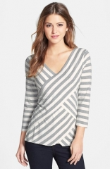 Vince Camuto Tiered Stripe Top in light grey at Nordstrom