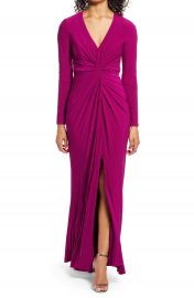 Vince Camuto Twist Front Long Sleeve Gown   Nordstrom at Nordstrom