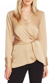 Vince Camuto Twist Front Satin Top   Nordstrom at Nordstrom