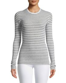 Vince Cashmere Striped Ribbed Long-Sleeve Tee at Last Call