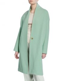 Vince Collarless Long Wool Coat at Neiman Marcus