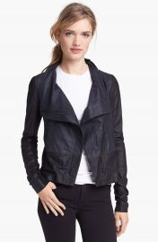 Vince Colorblock Asymmetrical Zip Leather Jacket at Nordstrom