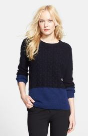 Vince Colorblock Cable Knit Crewneck Sweater at Nordstrom