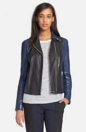 Vince Colorblock Leather Moto Jacket in Black and Blue at Nordstrom