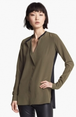 Vince Colorblock Silk Blouse at Nordstrom