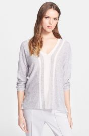 Vince Colorblock V-Neck Sweater in grey at Nordstrom