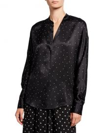 Vince Dot-Print Long-Sleeve Silk Popover Top at Neiman Marcus