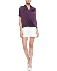 Vince Draped Satin Wrap Blouse and Pintucked Relaxed Jacquard Shorts at Neiman Marcus
