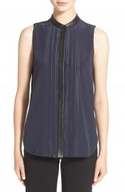 Vince Embroidered Sleeveless Silk Top at Nordstrom