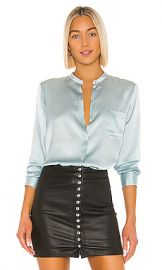 Vince Fitted Band Collar Top in Sky Lark from Revolve com at Revolve