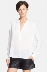 Vince Half Placket Crepe Blouse in white at Nordstrom