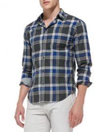 Vince Large-Plaid Poplin Shirt BlueGray at Neiman Marcus