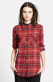 Vince Leather Trim Plaid Long Sleeve Shirt at Nordstrom