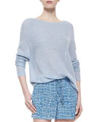 Vince Lightweight Loose Cashmere Sweater Chambray at Neiman Marcus