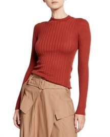 Vince Mixed-Rib Cashmere Sweater at Neiman Marcus