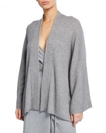 Vince Open-Front Ribbed Cardigan with Split Panel at Neiman Marcus