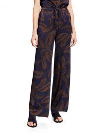 Vince Palm Leaf-Print Silk Satin Drawstring PJ Pants at Neiman Marcus