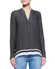 Vince Printed Split-Neck Top at Neiman Marcus