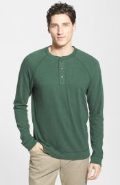 Vince Raglan Sleeve Slub Cotton Henley in Cilantro at Nordstrom