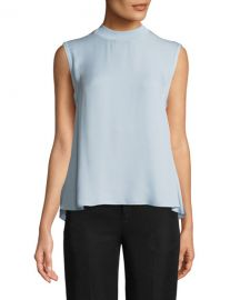 Vince Ribbed-Trim Tie-Back Silk Shell at Neiman Marcus