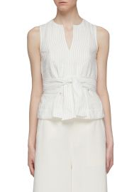 Vince Sash Tie Waist Pinstripe Tank Top at Lane Crawford