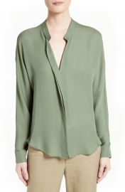 Vince Sheer Silk Blouse in Sage at Nordstrom