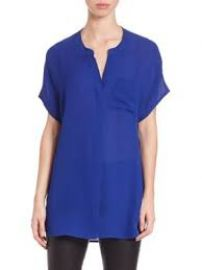 Vince Short-sleeve Silk Popover Top  at Nordstrom