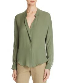 Vince Silk Double Front Blouse Sage at Bloomingdales