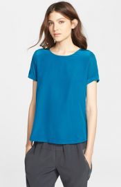 Vince Silk Front Mixed Media Tee at Nordstrom