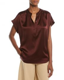 Vince Silk Shirred-Neck Cap-Sleeve Blouse at Neiman Marcus