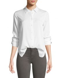 Vince Slim-Fit Long-Sleeve Stretch-Silk Blouse at Neiman Marcus