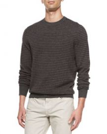 Vince Striped Crewneck Sweater Dark Gray at Neiman Marcus