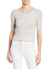 Vince Striped Elbow-Sleeve Cashmere Top at Bergdorf Goodman