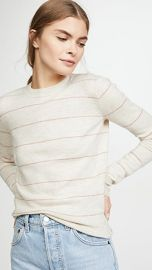 Vince Striped Fitted Cashmere Crew Sweater at Shopbop