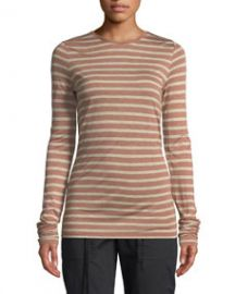 Vince Striped Long-Sleeve Crewneck Top at Bergdorf Goodman