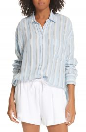 Vince Textured Stripe Button Up Blouse   Nordstrom at Nordstrom