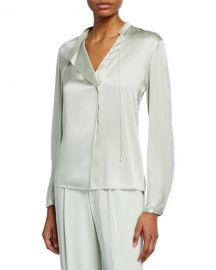 Vince Tie-Neck Satin Popover Top at Neiman Marcus
