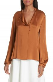 Vince Tie Neck Silk Popover Blouse at Nordstrom