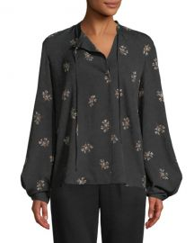 Vince Tossed Bouquet Silk Tie-Neck Blouse at Neiman Marcus