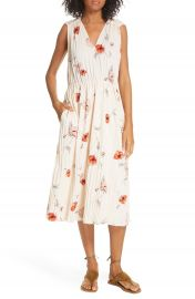 Vince Tossed Poppy Pleated Midi Dress   Nordstrom at Nordstrom