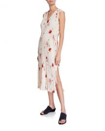 Vince Tossed Poppy V-Neck Pleated Dress at Neiman Marcus