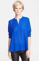 Vince Trapunto Placket Blouse in blue at Nordstrom