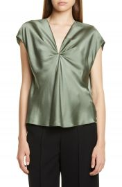 Vince Twist Detail Short Sleeve Silk Blouse   Nordstrom at Nordstrom