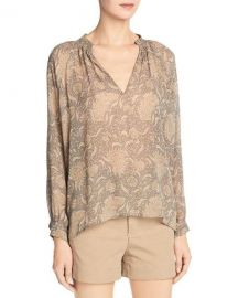 Vince Vintage Floral Pleat-Neck Silk Blouse  Natural at Neiman Marcus